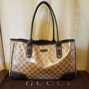 Gucci Crystal Princy Brown Canvas Leather Tote